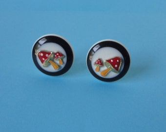 Lucite and Metal Enameled MUSHROOMS Clip on Earrings.