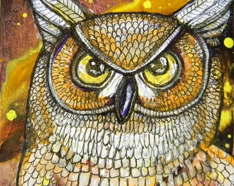 Great Horned Owl Miniature Painting by Lynnette Shelley