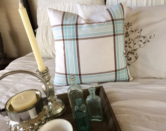 Ice Blue and Brown Plaid on White Linen Pillow Cover  Coastal / Beach / Farmhouse / Lake House / Cottage Chic