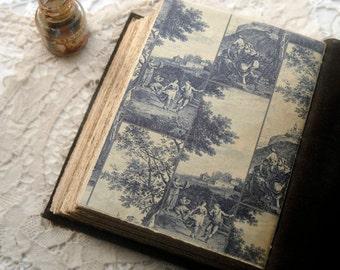 Landscapes - Large Dark Brown Leather Journal, Vintage Key, Aged Paper - OOAK