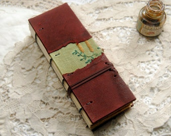Merlot Memoirs - Burgundy Leather & Vintage Embroidered Linen Journal, Tea Stained Pages, OOAK