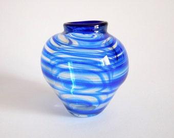 Hand Blown Art Glass Vase with Cobalt Blue Lip & Swirl (Item X 62)