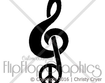 Treble Clef Peace Sign Vinyl Graphic, Vehicle Window Sticker
