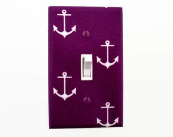 Nautical Light Switch Cover -  Anchor Switch Plate - Purple Nautical Nursery - Girls Nautical Nursery Decor - Girls Purple Switchplate