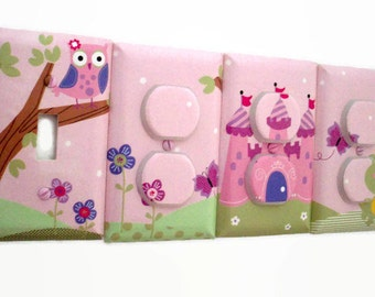 Magic Kingdom Light Switch Cover - Princess Castle Nursery Decor - Girls Outlet Covers - Owl Girls Nursery - Girls Pink Castle Bedroom Decor