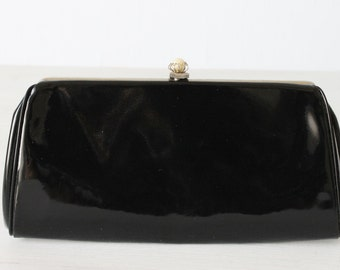 Vintage Black Patent Leather Clutch Purse Handbag / Evening Bag / Optional Chain Handle
