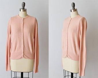 Vintage 1950s Pink Cardigan Sweater / 50s Cardigan Sweater / Pink Sweater
