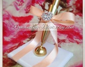 Romantic Satin Wedding Guestbook Pen with Rhinestone Accent...You Choose Colors.... shown in gold pen/white base/peach bow