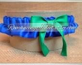 Satin Skirted Satin Bridal Garter...Custom Colors Available..shown in royal blue/kelly green
