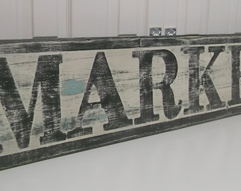 Market Sign, Vintage Inspired, Hand Lettered, Cottage Style, Shabby Chippy Farmhouse Chic