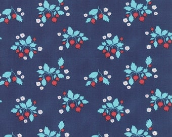 SPRING SALE - Gooseberry - 1 yard - Floral Patch in Dark Blue - 5011 17 - by Lella Boutique for Moda Fabrics