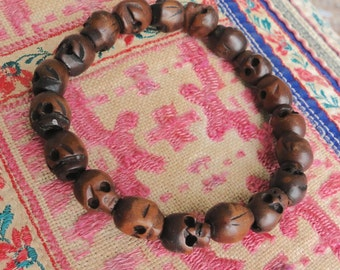 WOODEN SKULL BRACELET, yoga, tribal, boho