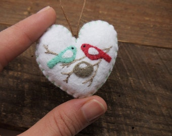 Expecting Parents Felt Heart Ornament