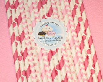 NEW - Pink Straw Assorted Straw Collection (Qty 30)  Pink Striped Straws, Pink Dot Straws, Pink Chevron Straws, Paper Straws, Straws