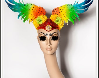 Rainbow Skies… Wings In Rainbow With Jewels And Flowers Headdress