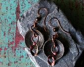 Coin Earrings, Mixed Metal, Tribal, Abstract Earrings, Bohemian Jewelry