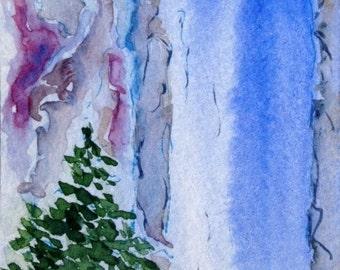 Original Watercolor ACEO Art Card, Waterfall,  Evergreen Trees