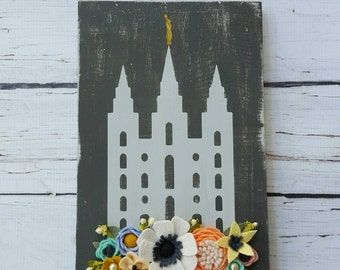 Salt Lake LDS temple wood sign with handmade felt flowers