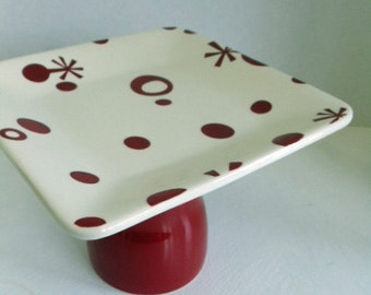 Red and White Cupcake Plate