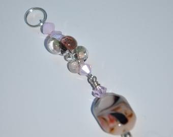 Borosilicate & swarovski crystal pendant with lamp work charm