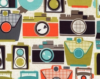 Camera Fabric - Michael Miller Cameras Jewel - Vintage Camera Fabric - Cotton Natural Camera Fabric - Green Brown Orange - 1 yard