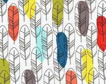 Quill Fabric - Feather Michael Miller Fabric - Birds of a Feather Fabric - Feather Quill Fabric - Michael Miller Red Blue Yellow White Taupe