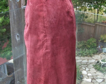 Suede skirt, Garnet leather skirt, 80s leather skirt, 80s suede skirt, size M / L