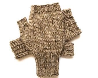 Texting Gloves for Men, Teen Boys, Handknit Fingerless Gloves, Hand Warmers, knitted gloves, men's mitts, Peruvian wool, tan tweed, size S