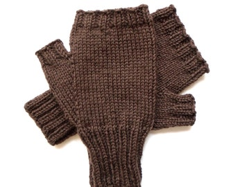 Brown Texting Gloves for Men and Teen Boys, Handknit Fingerless Gloves, Hand Warmers, gift for men, wool gloves, knitted gloves, size M/L