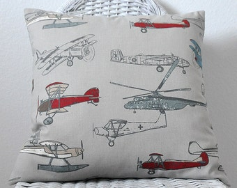 Airplane Pillow Boys Room Pillow Vintage Air Pillow Cover in Pewter Gray Den Pillow 5 Sizes