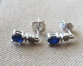 Teensy Sapphire & Diamond Accent 10K White Gold Stud Earrings, free US first class shipping on vintage items