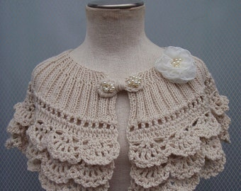 Wedding Shawl, Bridal Accessories, Bridal Shawl, shawl, shrug, Handmade flower, Bridal Gift, Knitting shawl, Costum Order, Wedding gown.