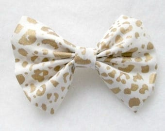 Gold Leopard Print Patterned Fabric Hair Bow