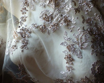 Gold Champagne Beaded Lace for Bridal, Lyrical, Costume Design