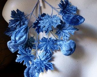 Blue Leaves Vintage Japanese Leaves with Fruit in Velvet for Bridal, Boutonierres, Corsages, Millinery, Hats, Fascinators ML 158