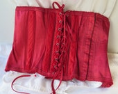 Waist Cincher in Red Satin by Warner's Vintage 1950's Size 26 Cotton Rayon
