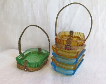 Antique French Salt Cellar Collection of 6 in Brass and Paste Set Baskets in Green, Gold and Blue