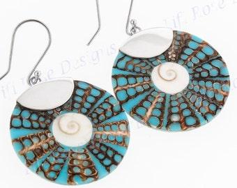 "1 1/4"" Turquoise Blue Shiwa Cone Shell Dangling 925 Sterling Silver Earrings"