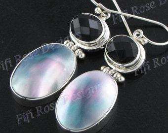 "1 1/4"" Blue Abalone Shell Onyx 925 Sterling Silver Earrings"