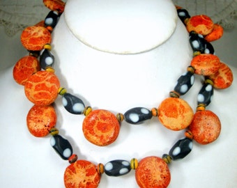 Vintage Red Sponge Coral Long Necklace, 1980s, Natural Apple Coral w Black White DOT Czech Glass n Orange Picasso Glass Beads, OOAK R Starr