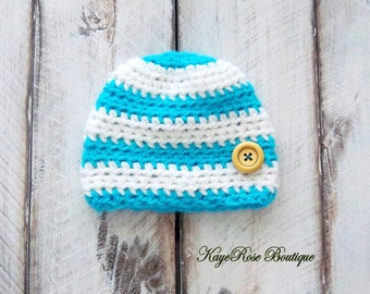 Newborn Baby Boy Crochet Hat White and Turquoise Stripes