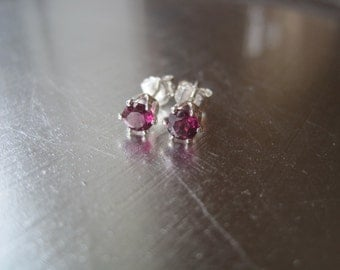 Rhodolite Garnet and Sterling Silver Studs
