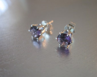 Faceted Amethyst and Sterling Silver Stud Earrings