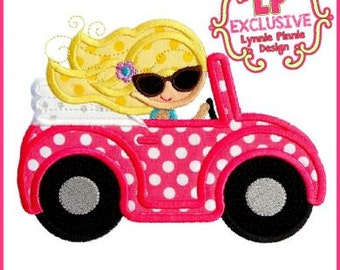 Convertible Buggy Car Girl 4x4 5x7 6x10 SVG Machine Embroidery Design