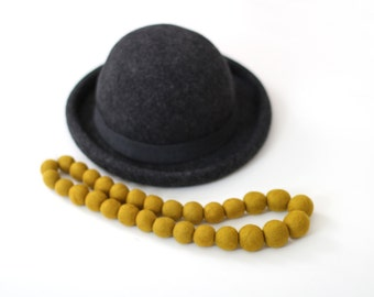 Adele Felted Bead Necklace in Mustard