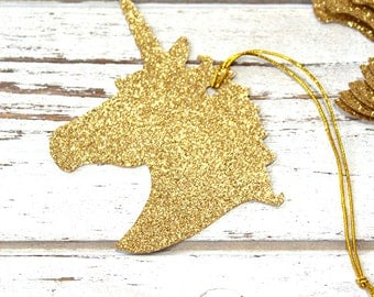 Gold or Silver Glitter Unicorn Gift Tags - Set of 10