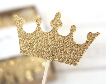 Prince Crown Glittery Cupcake Toppers - Set of 12