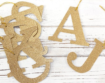 Glitter Initial Gift Tags - Custom Initials - Monogrammed Tags, Gift Wrapping, Personalized Tags