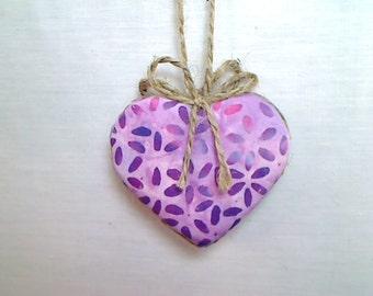 Purple Batik Heart Ornament   Valentine's Day   Spring Decor   Party Favor   Birthday   Tree Ornament   Holidays   Decoration   Handmade  #2