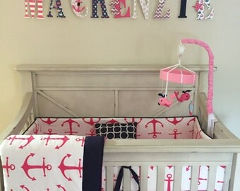Baby Bedding Crib Set Hot Pink and Navy Anchor Made to Order